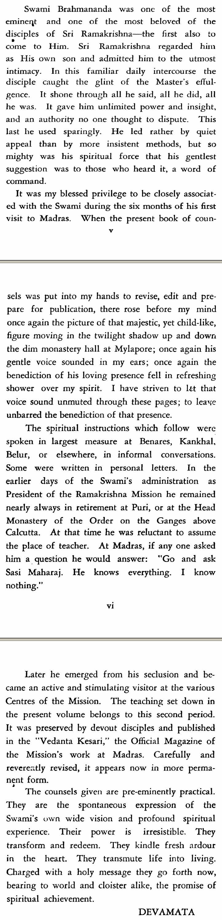 Swami Brahmananda Reminisceneces by Sister Devamata